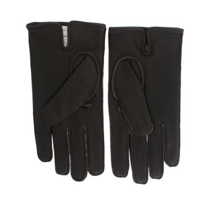 Brown Leather Cashmere Gloves  - designer apparel and accessories