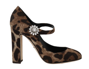 Leopard Cady Silk Crystal Mary Janes  - designer apparel and accessories