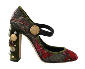Green Jacquard Crystal Mary Janes Shoes  - designer apparel and accessories