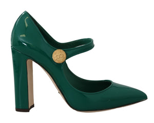 Green Leather DG Logo Mary Janes  Shoes  - designer apparel and accessories