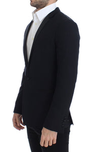 Blue wool GOLD slim fit blazer  - designer apparel and accessories