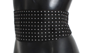 Black Polka Dotted Waist Belt Silk Cummerbund  - designer apparel and accessories
