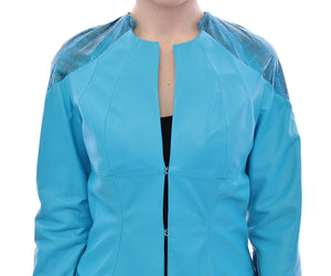 Blue Leather Snake Print Jacket  - designer apparel and accessories