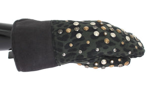 Gray Wool Shearling Studded Green Leopard Gloves  - designer apparel and accessories