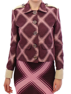 Purple checkered blazer jacket  - designer apparel and accessories