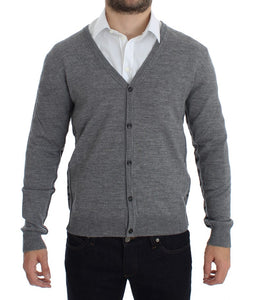 Gray Wool Button Down Logo Cardigan  - designer apparel and accessories