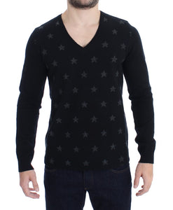 Black Gray Star Print V-neck Sweater  - designer apparel and accessories