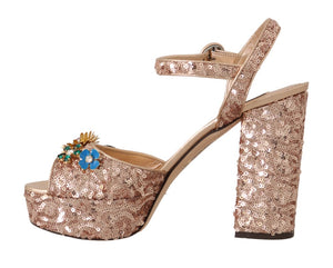 Pink Gold Sequin Crystal Sandal  - designer apparel and accessories