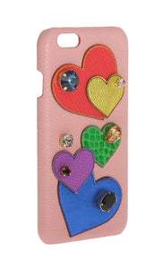 Pink Leather Heart Crystal Phone Case  - designer apparel and accessories