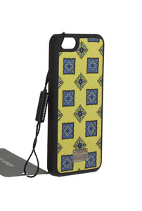 Yellow Blue Pattern Leather Phone Cover  - designer apparel and accessories
