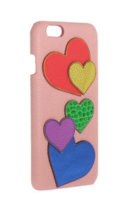 Pink Leather Heart Phone Cover  - designer apparel and accessories