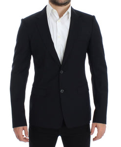 Dark blue wool slim fit blazer  - designer apparel and accessories