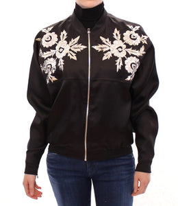 Black silk floral decorated jacket  - designer apparel and accessories