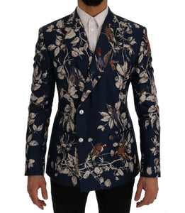 Blue Bird Print Silk Slim Fit Blazer Jacket  - designer apparel and accessories