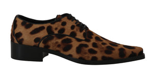 Brown Leopard Print Pony Hair Oxfords