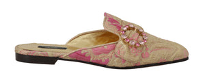 Gold Pink Brocade Crystal Floral Mules
