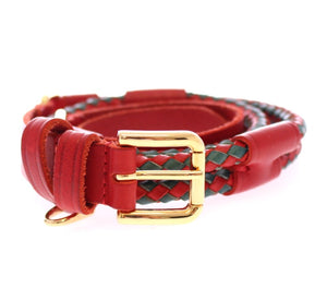 Red Leather Logo Gold Buckle Belt