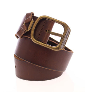 Brown Leather Logo Belt  - designer apparel and accessories