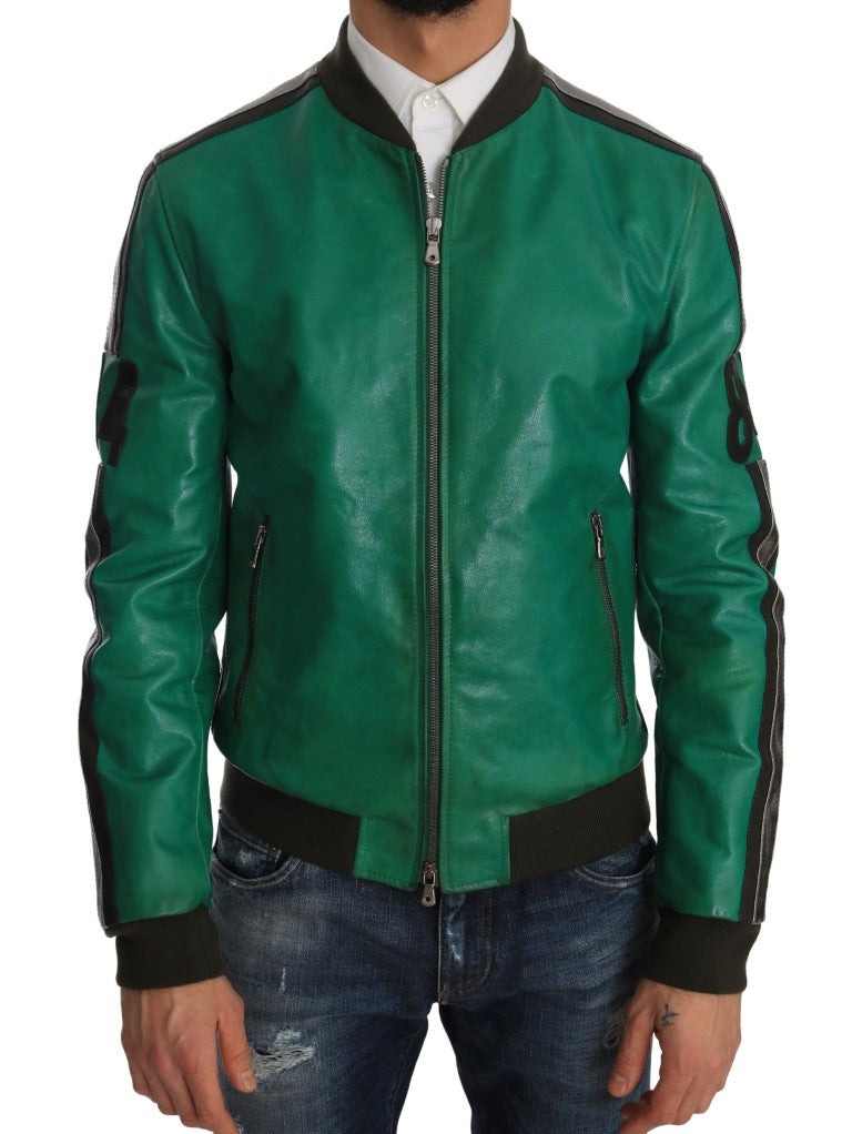 Green Leather 84 Motive Bomber Jacket  - designer apparel and accessories