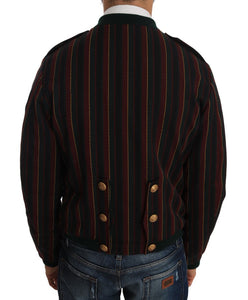 Bomber Multicolor Striped Coat Jacket  - designer apparel and accessories