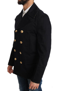 Trench Blue Cotton Stretch Jacket  - designer apparel and accessories