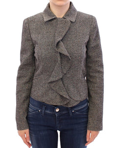 Gray Black Salt Peppar Coat Jacket  - designer apparel and accessories