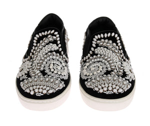 Black Velvet White Crystal Loafers  - designer apparel and accessories