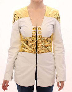 White Gold Metallic Leather Jacket  - designer apparel and accessories