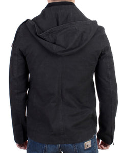 Gray hooded cotton jacket  - designer apparel and accessories