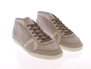 Gray Leather Casual Sport Sneakers Shoes  - designer apparel and accessories