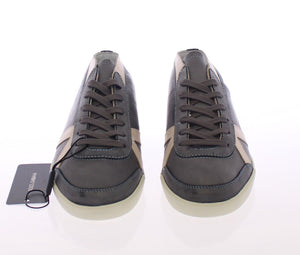 Dark Gray Leather Logo Sport Sneakers Shoes  - designer apparel and accessories