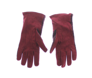 Mens Red Fabric Leather Wrist Gloves Hand  - designer apparel and accessories