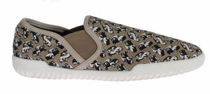 Beige Denim Car Print Loafers Sneakers Shoes  - designer apparel and accessories