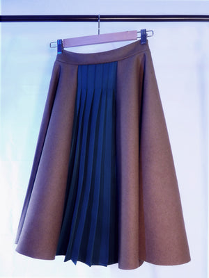 Panel Pleated Sage Skirt