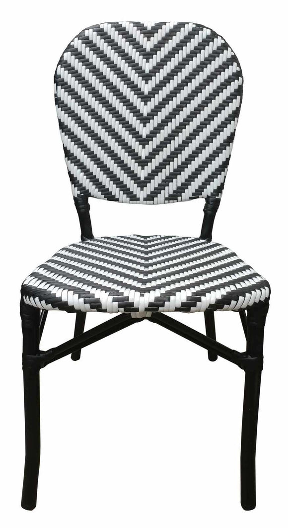 Austin Aluminium Rattan Outdoor Wicker Parisian Bistro Cafe Chair - Black White
