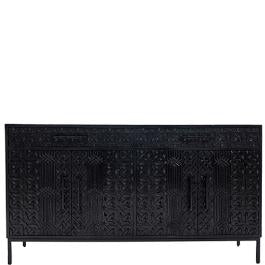 PRESALE - Rubystar Tribal Carved 4-Door Sideboard - Black