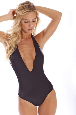Flamingo Black One Piece - Veranera Swimwear