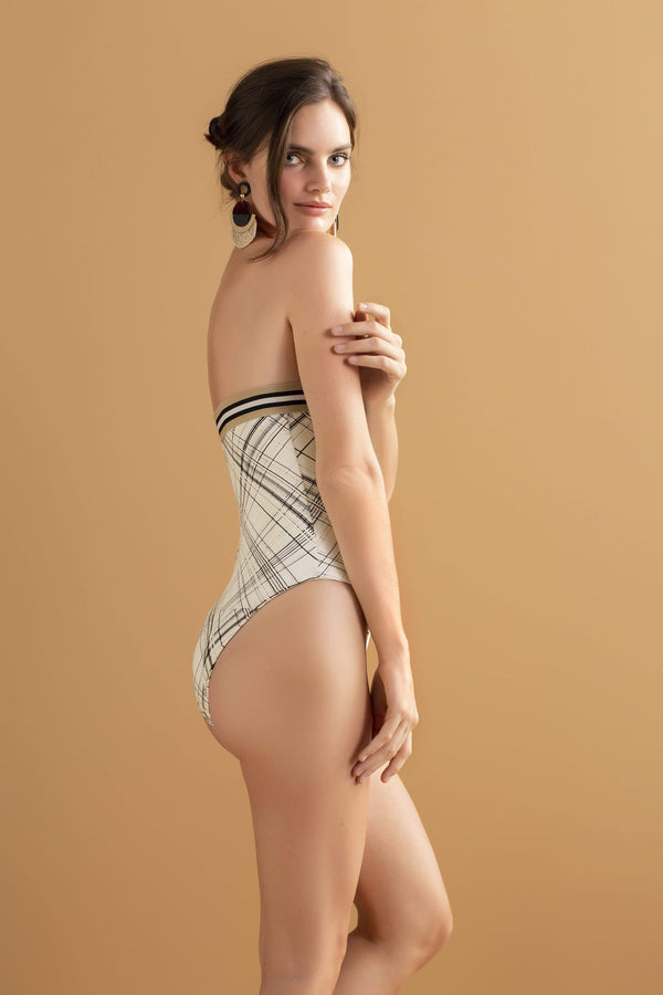 Beige & Stripe One Piece