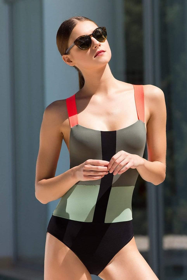 Color Block One Piece - Veranera Swimwear