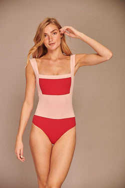 Rose Color Block One Piece