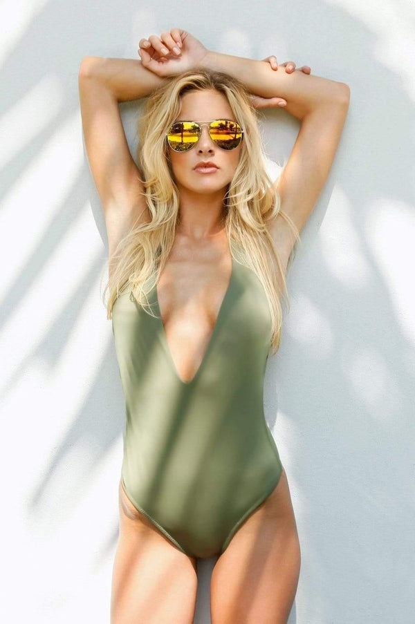 Flamingo Green One Piece - Veranera Swimwear