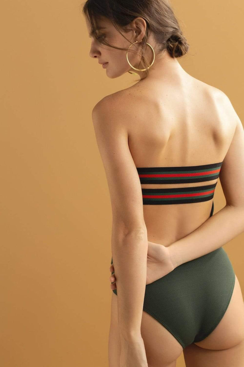 Solid & Stripe Green One Piece - Veranera Swimwear