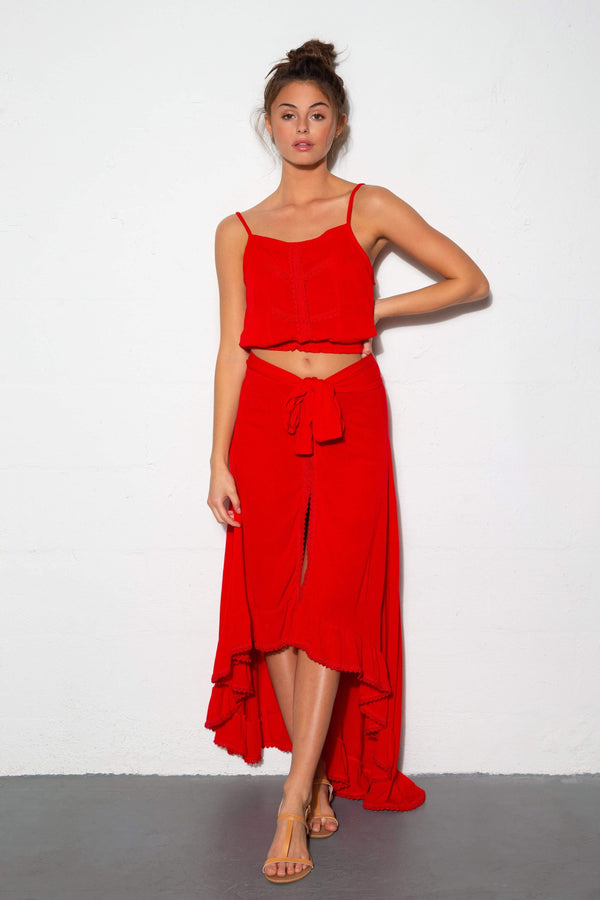 Luna Skirt Red Sangria - Veranera Swimwear