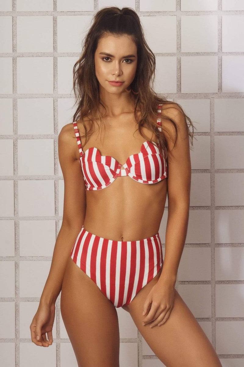 Hot Red HW Bikini Bottom - Veranera Swimwear