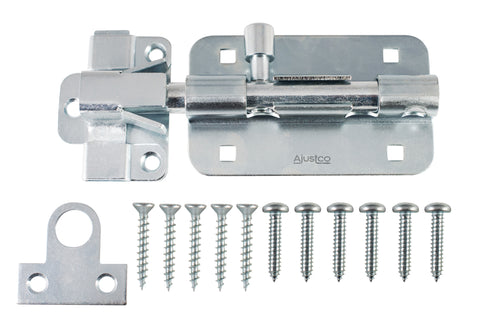AjustLock 5 Inch Extra HD Zinc Silver Barrel Bolt Lock