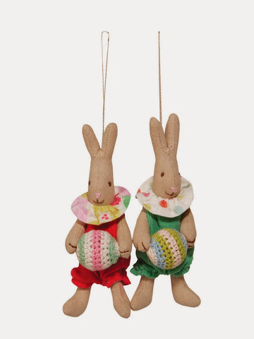 Newborn baby rabbit rattle, green