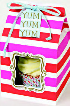 Cupcake Box Pink Striped with Ribbon
