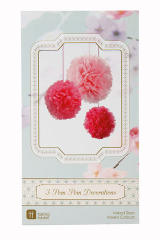 Pom Poms Pink mixed sizes