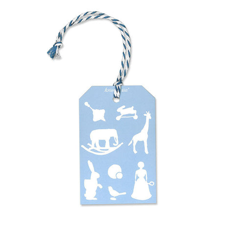 Gift Tag Toy Vintage Blue