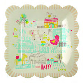Happy Little Farm Square Plates